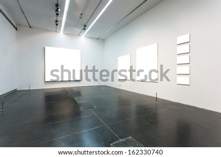 empty frames in gallery - stock photo