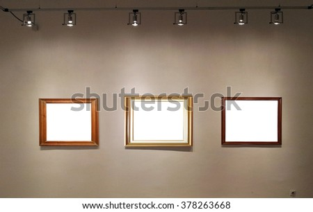 Empty frames in gallery room