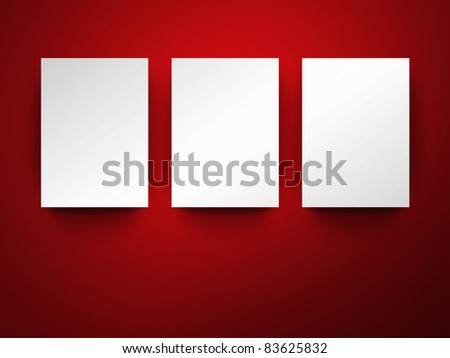 Empty frames on wall with space for your images - stock photo