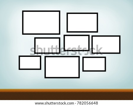 empty frames on wall with white copy space for pictures or photograph images digital illustration - Empty Frames On Wall