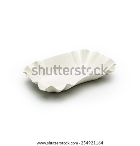 empty french fries shell on white background - stock photo