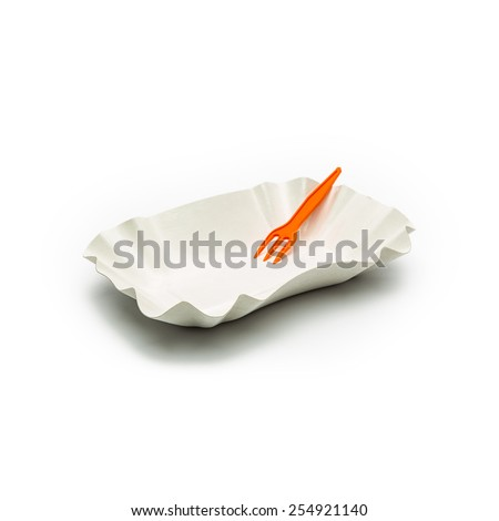 empty french fries shell with plastic fork isolated on white background - stock photo