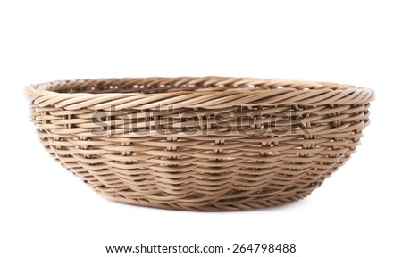 Empty fruit wicker brown basket bowl isolated over the white background - stock photo