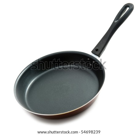 empty frying pan isolated over white - stock photo