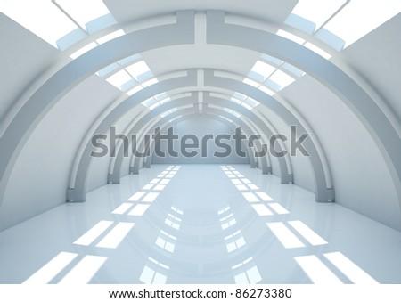 empty futuristic interior with balks - 3d illustration - stock photo