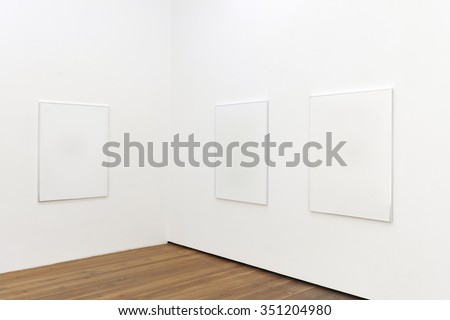 Empty Gallery in art museum with wooden floor and copy space for your Art.  - stock photo