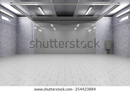 Empty Garage 3D Interior with Closed Roller Door. 3D Rendering