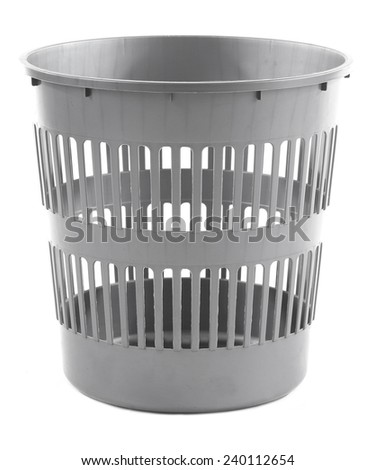 Empty garbage bin, isolated on white - stock photo