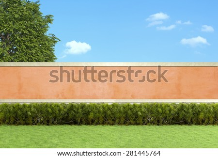 Empty garden with hedges against orange wall - 3D Rendering - stock photo