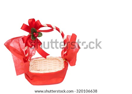 Empty Gift Baskets on white background - stock photo