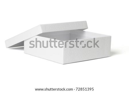 Empty gift box isolated on white background - stock photo