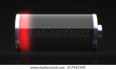 Empty glass battery. need charging for use in presentations, education manuals, design, etc. - stock photo