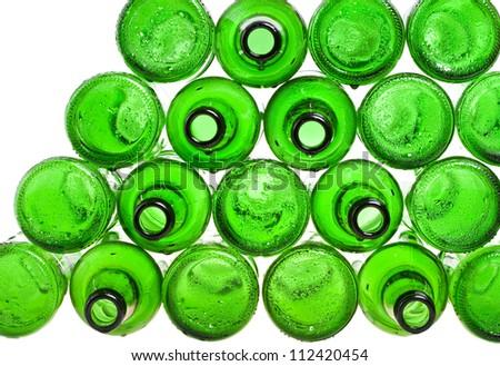 Empty glass beer bottles - stock photo
