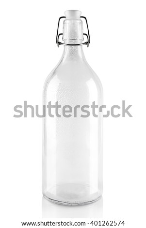 empty glass bottle for milk with reusable plastic cork isolated on white - stock photo