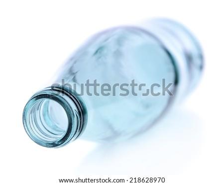 Empty glass bottle isolated on white - stock photo