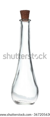 empty glass bottle isolated on white background