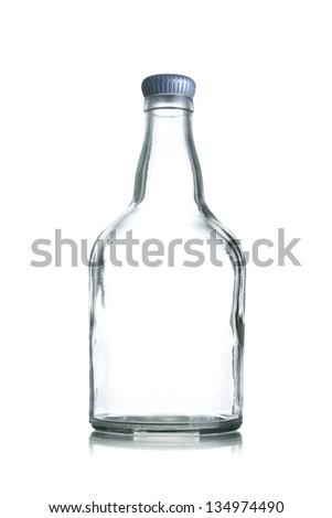 Empty Glass Bottle on a White Background - stock photo