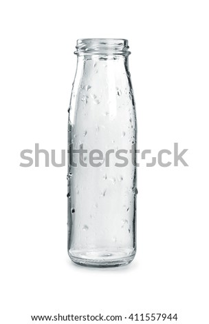 empty glass bottle on a white background