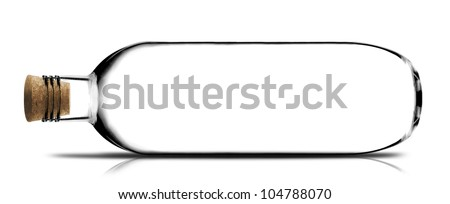 empty glass bottle with cork on white background. - stock photo