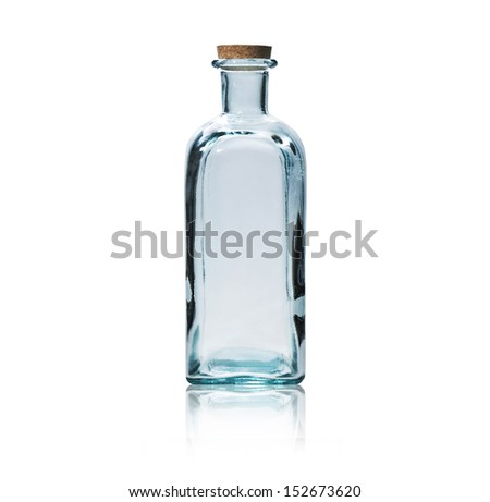 Empty glass bottle with cork stopper isolated on white. - stock photo
