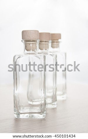 empty glass bottles in row