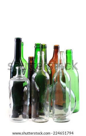 empty glass bottles isolated on the white background - stock photo