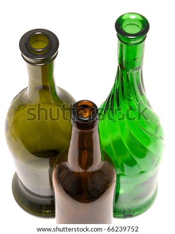 empty glass bottles isolated on white