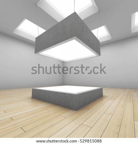 Empty glass box in art gallery. 3D illustration.