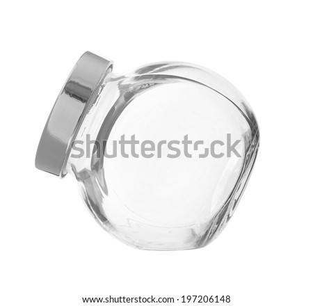 Empty Glass Canister isolated on white background