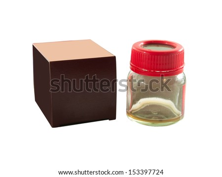 empty glass container and box red on white background