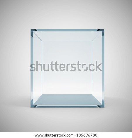 Empty Glass Cube on gradient background - stock photo
