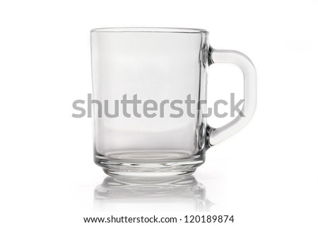 Empty glass cup isolated on white background - stock photo