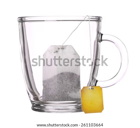 empty glass cup of tea with tea bag isolated on white background