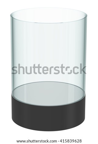 Empty glass cylinder for exhibit, isolated. 3D illustration