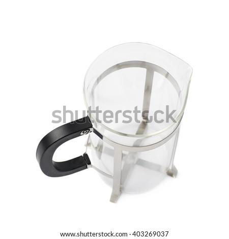 Empty glass french press coffee pot isolated over the white background