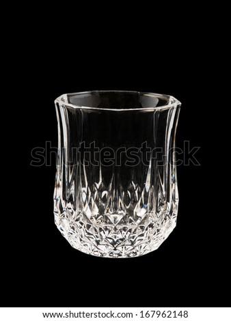 empty glass isolated on black background - stock photo