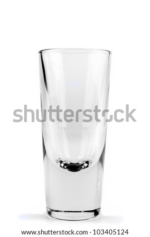 Empty glass isolated on white close up