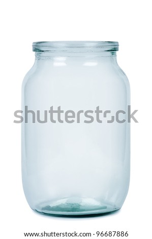Empty glass jar for preserving isolated on white background. - stock photo