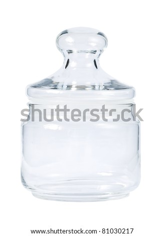 Empty glass jar for spice isolated on white