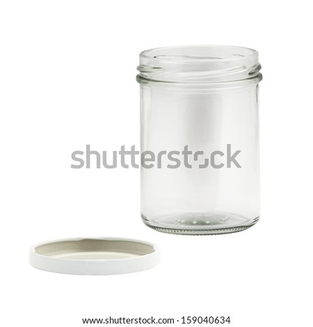empty glass jar isolated in white background - stock photo