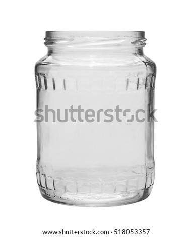 Empty glass jar isolated on white, with clipping path