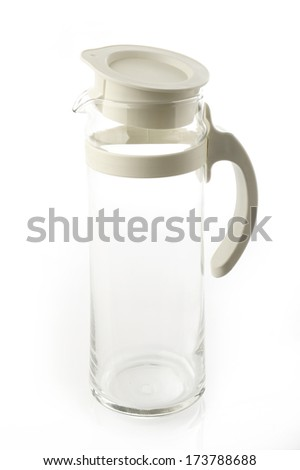 Empty glass jar on a white background.
