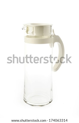 Empty glass jar on a white background