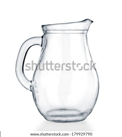 Empty glass jar on a white background. - stock photo
