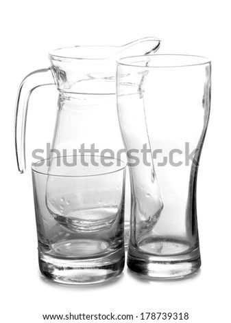 empty glass jars on white background