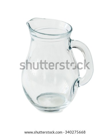 empty glass jug isolated on white background - stock photo