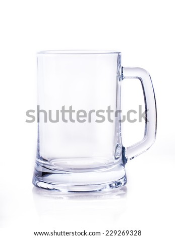 empty glass of beer Isolated on white background - stock photo