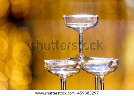 Empty glass of champagne in holiday setting,Closeup