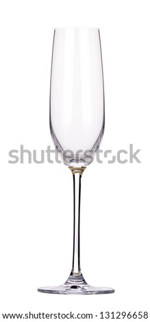 empty glass of champagne isolated on a white background - stock photo
