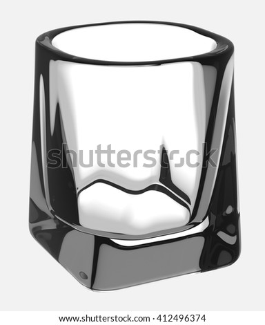 Empty glass of whiskey with clipping path. Isolated on white background. 3D illustration - stock photo